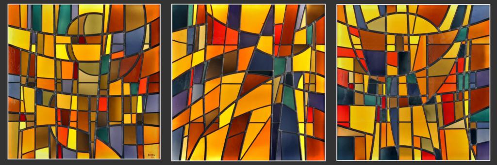 Bodjol crée en 1980 trois vitraux pour la chapelle de la Maison de Retraite du Petit-Saconnex, intitulés: Enfance, Age mûr et Vieillesse.