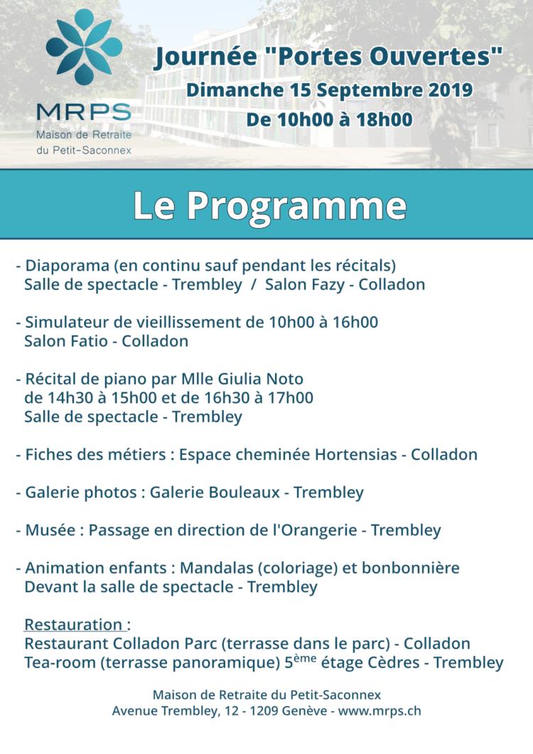 Programmes des 'Portes ouvertes' de la Maison de retraite du Petit-Saconnex